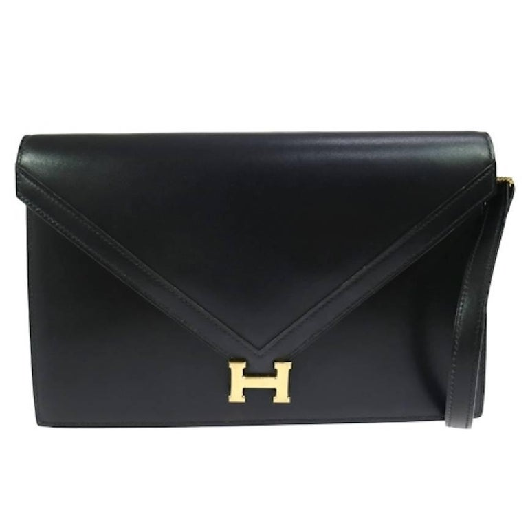 Hermes Black Leather H Envelope Evening Shoulder Flap Bag  For Sale