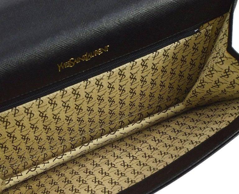 YSL Black Leather Envelope Evening Flap Clutch Bag For Sale 1