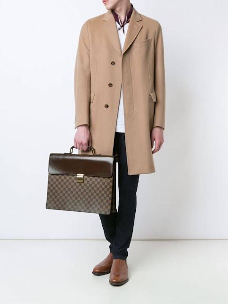 Louis Vuitton Monogram Men's Travel Top Handle Briefcase Bag  Monogram canvas Leather Gold tone hardware Date code present Made in France Handle drop 2