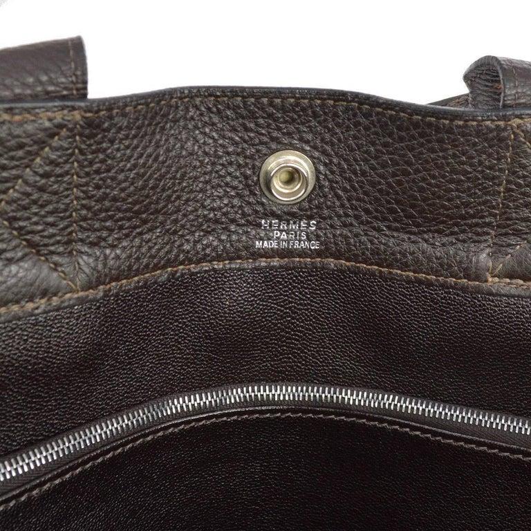 Hermes Canvas Black Leather Trim Men's Weekender Large Carryall Travel Tote Bag For Sale 2