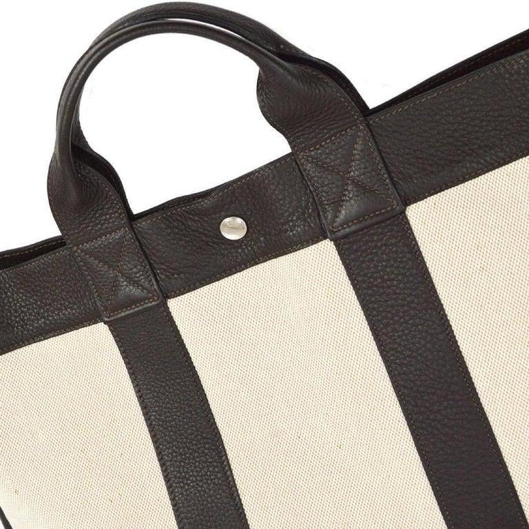 Beige Hermes Canvas Black Leather Trim Men's Weekender Large Carryall Travel Tote Bag For Sale
