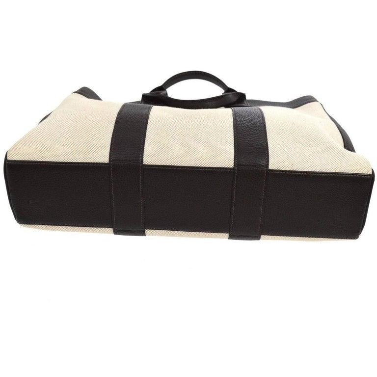 Women's Hermes Canvas Black Leather Trim Men's Weekender Large Carryall Travel Tote Bag For Sale