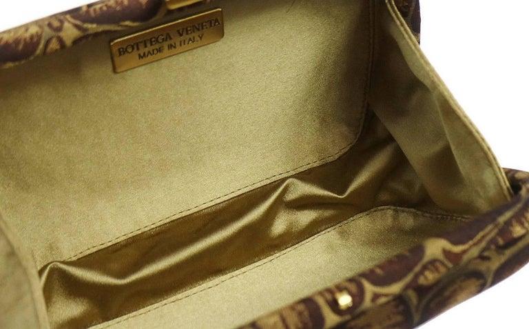 BOttega Veneta Brown Gold Canvas Snakeprint Tassel Evening Clutch Bag For Sale 1