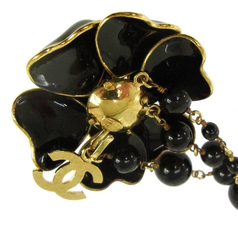 Chanel Black Gold Charm Flower Beaded Evening Waist Belt 3