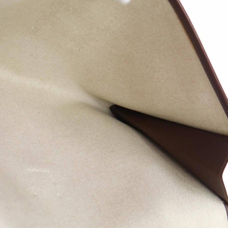 Hermes Like New Chocolate Leather Stitch H Envelope Evening Clutch Flap Bag For Sale 1