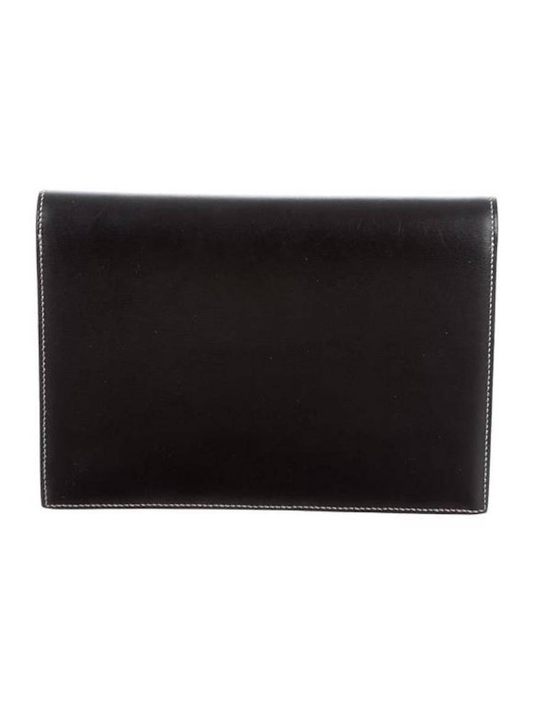 Women's Hermes Leather Silver Toggle Envelope Evening Flap Clutch Bag For Sale