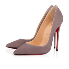 Christian Louboutin New Gray Suede So Kate High Heels Pumps in Box