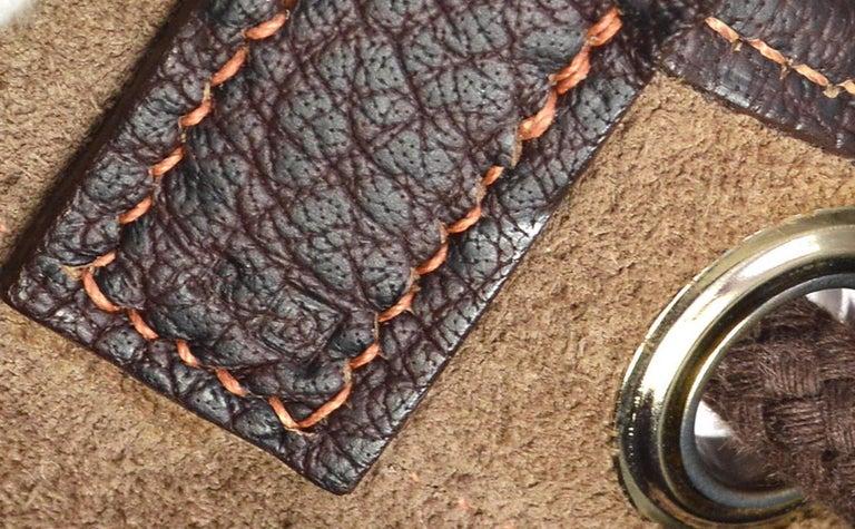 Hermes Dark Brown Leather Men's Drawstring Bucket Duffle Carryall Shoulder Bag For Sale 2