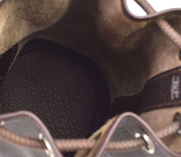 Hermes Dark Brown Leather Men's Drawstring Bucket Duffle Carryall Shoulder Bag For Sale 1
