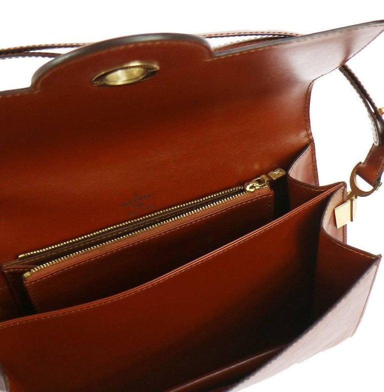 Brown Louis Vuitton Cognac Leather Top Handle Satchel  Evening Shoulder Flap Bag For Sale