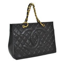 Chanel Black Caviar Leather Carryall Travel Top Handle Shoulder Tote Bag