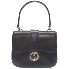 Gucci Leather Gold Kelly Style Top Handle Satchel Evening Shoulder Flap Bag