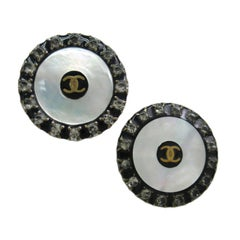 Chanel Black Gold Iridescent Rhinestone Evening Disc Stud Earrings in Box