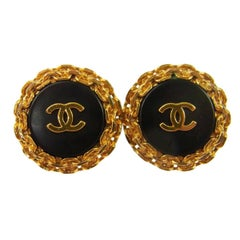 Chanel Gold Textured Chain Black Logo Stud Evening Earrings in Box