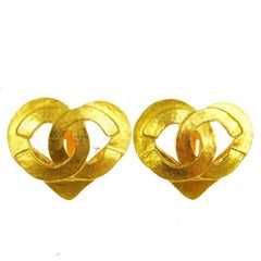 Chanel Gold Textured Heart Charm Stud Evening Earrings