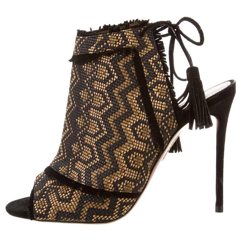 Aquazzura New Black Gold Weave Tie Up Evening Sandals Heels