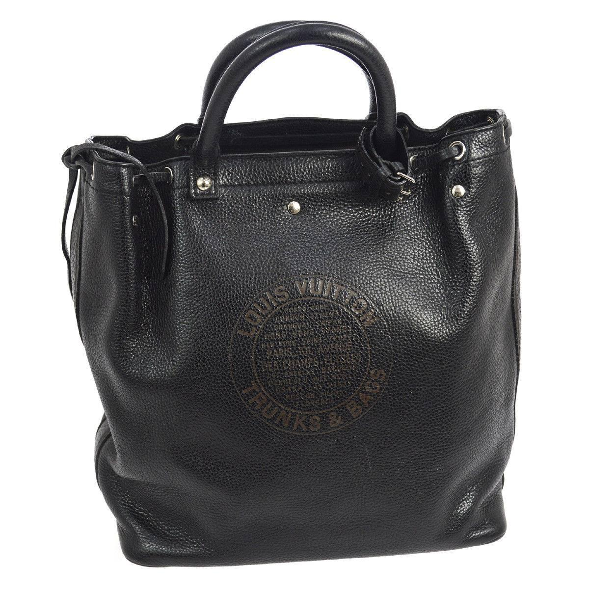 Louis Vuitton Black Leather Mens And Womens Carryall Travel Tote Bag SFvZEoRHU6