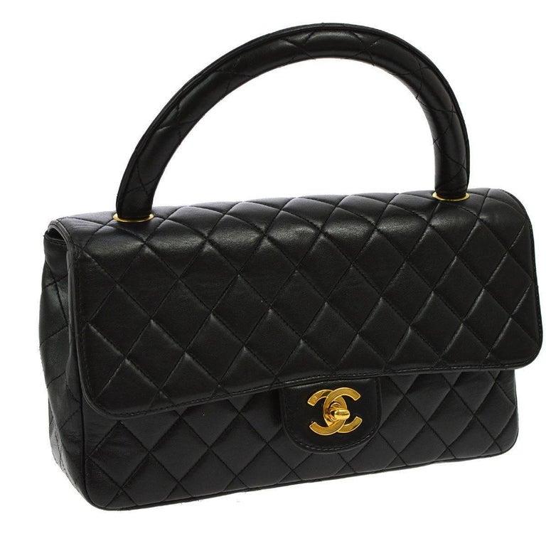 Chanel Vintage Black Lambskin Kelly Style Evening Top Handle Satchel Bag
