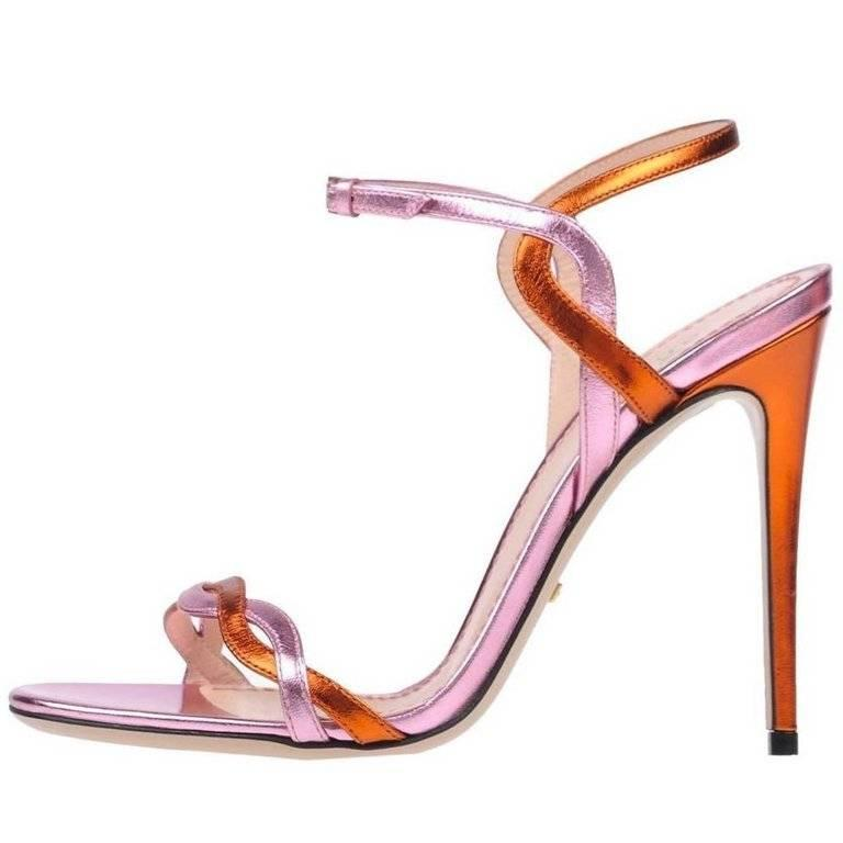 3234e611b7e2d3 Gucci Pink Orange Metallic Strappy Evening Sandals Heels in Box For Sale