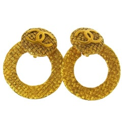 Chanel Gold Large Textured Metal Round Hoop Doorknocker Drop Earrings