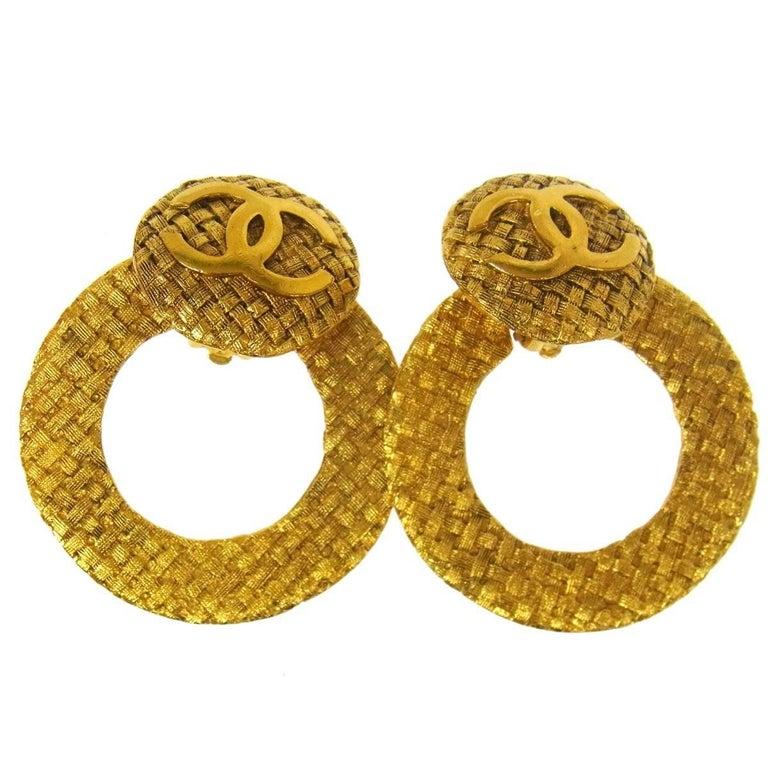 Chanel Gold Large Textured Metal Round Hoop Doorknocker Drop Earrings For Sale