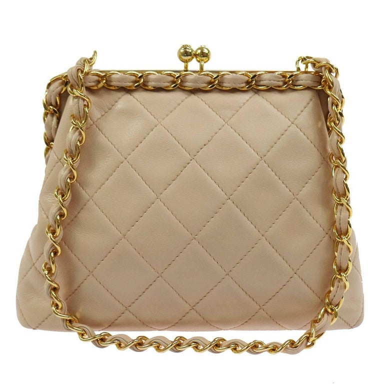 Chanel Nude Lambskin Wraparound KissLock Party Evening Shoulder Bag