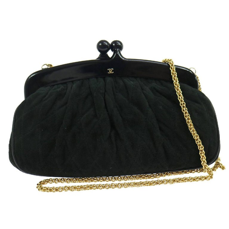 Chanel Black Suede KissLock Party 2 in 1 Clutch Evening Shoulder Bag in Box
