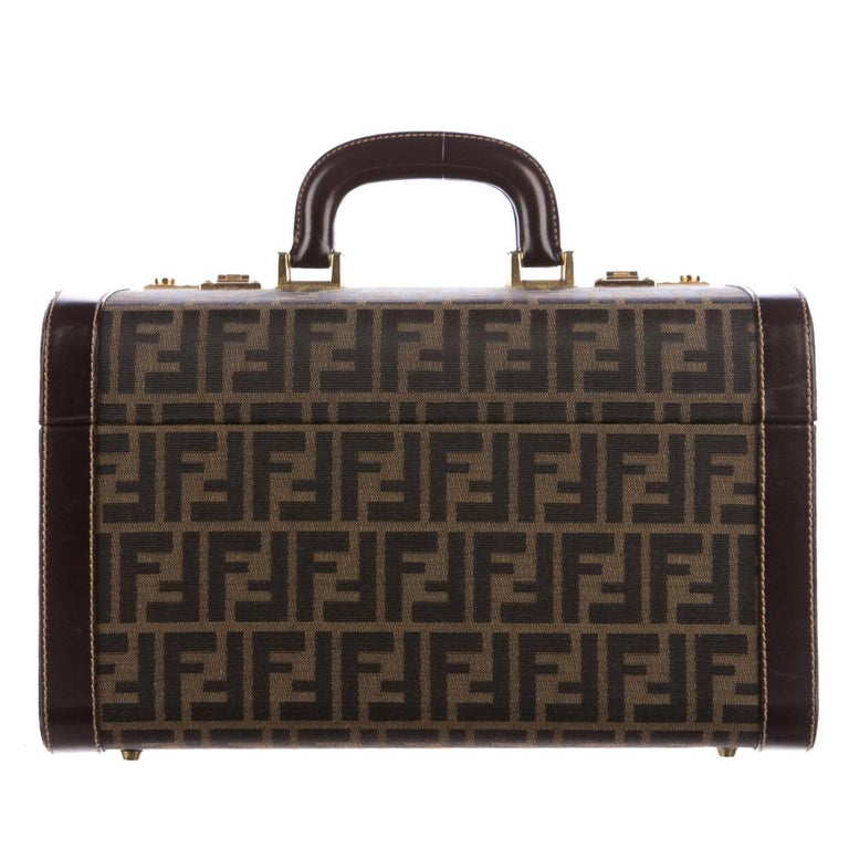 Fendi Monogram Canvas Travel Storage Vanity Jewelry Top Handle Satchel Bag
