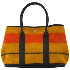 Hermes Multi Color Stripe Wool Leather Men's Carryall Travel Top Handle Tote Bag