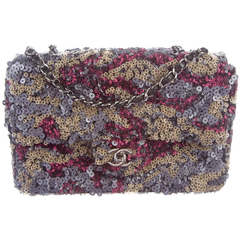 Chanel New Multi Color Sequin Leather Evening Flap Shoulder Bag