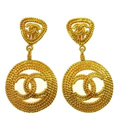 Chanel Textured Gold Double Charm Drop Hoop Evening Earrings in Box