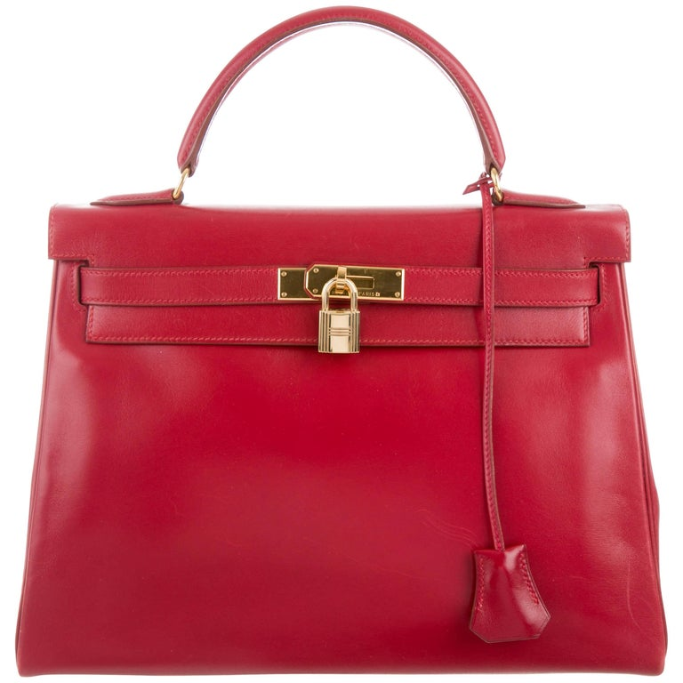Hermes Kelly 32 Rouge Red Leather Evening Top Handle Satchel Flap Bag in Box