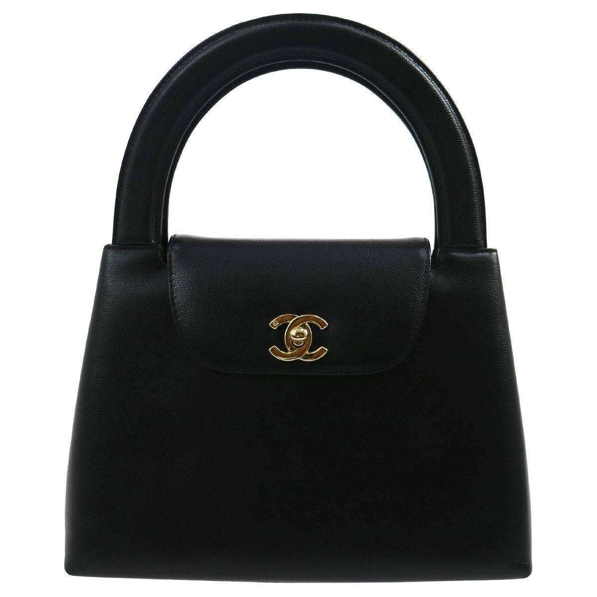 Chanel Black Leather Small Mini Party Kelly Evening Top Handle Satchel Bag