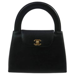Chanel Black Leather Party Kelly Evening Top Handle Satchel Bag