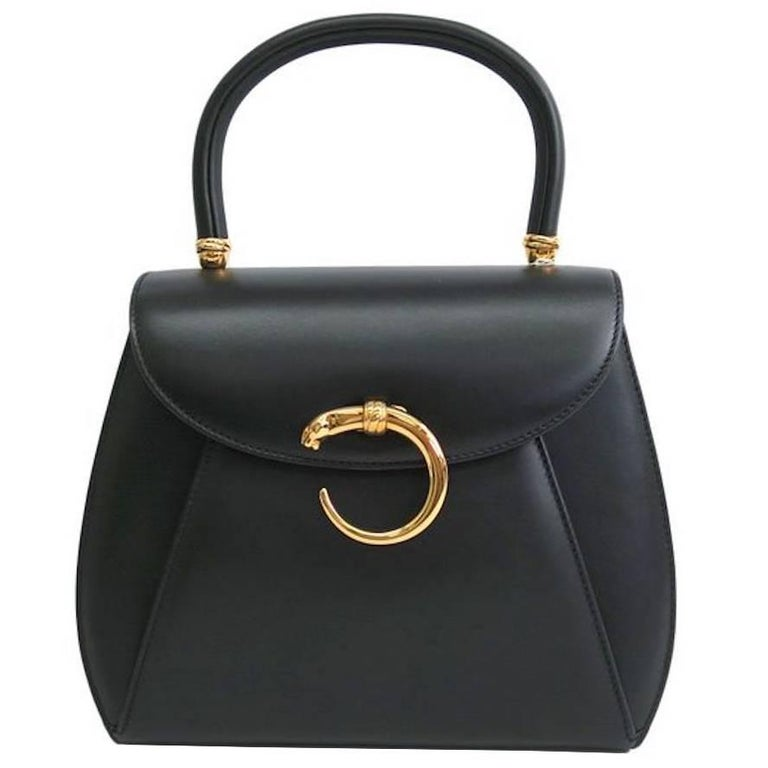 Cartier Black Leather Gold Emblem Charm Kelly Top Handle Satchel Flap Bag