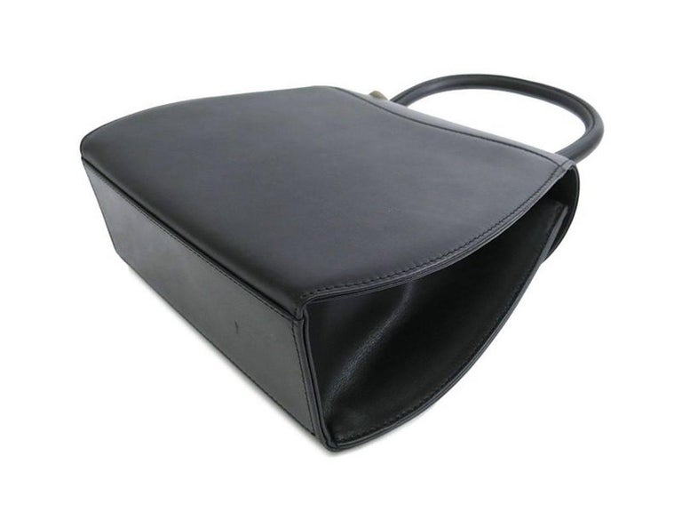 Cartier Black Leather Gold Emblem Charm Kelly Top Handle Satchel Flap Bag 2