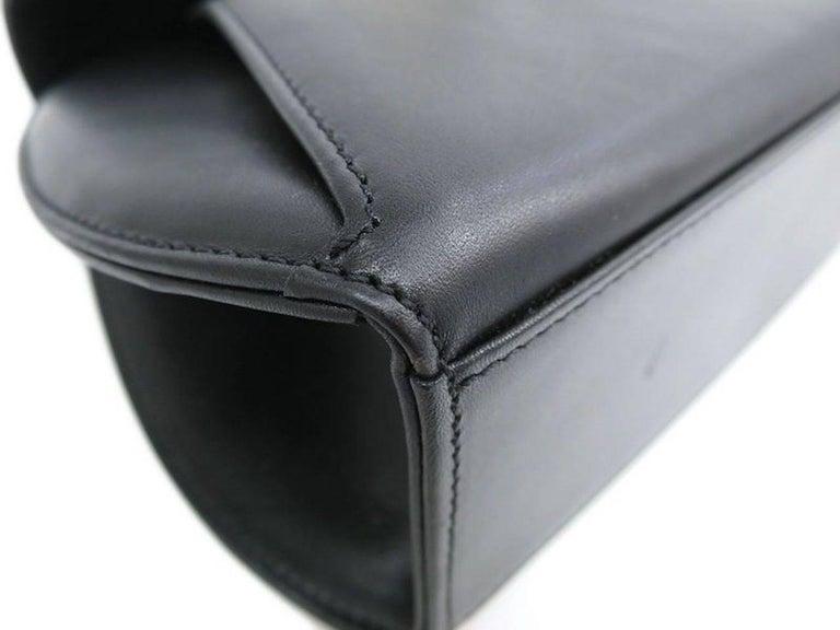 Cartier Black Leather Gold Emblem Charm Kelly Top Handle Satchel Flap Bag 3