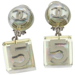 Chanel Rare Vintage Silver Clear Lucite No 5 Charm Cube Dangle Earrings in Box