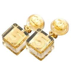 Chanel RARE No. 5 Gold CC Clear Lucite Cube Dangle Drop Earrings in Box