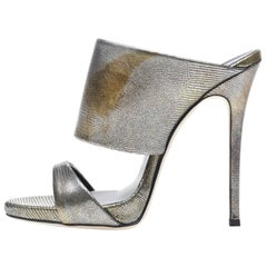 Giuseppe Zanotti New Silver Gold Leather Slide In Mules Evening Heels