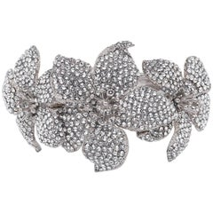 Giuseppe Zanotti NEW Silver Crystal Statement Evening Cuff Bracelet in Box