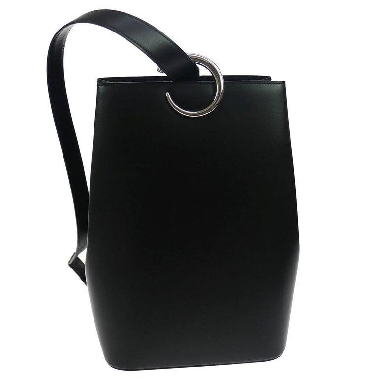 Cartier Black Leather Silver Emblem Evening Shoulder Bag in Box