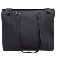 Hermes Black Leather Oversize Carryall Travel Shopper Shoulder Tote Bag