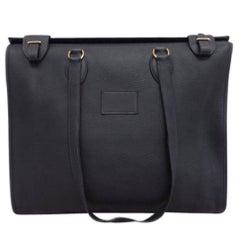 Hermes Black Leather Oversize Carryall Travel Shopper Shoulder Tote Bag