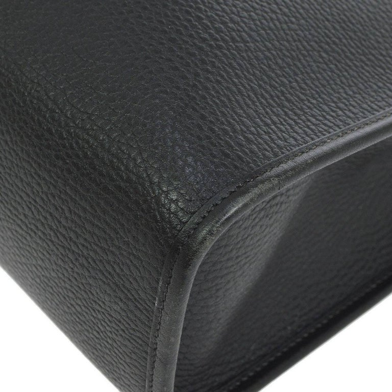Hermes Black Leather Oversize Carryall Travel Shopper Shoulder Tote Bag 2