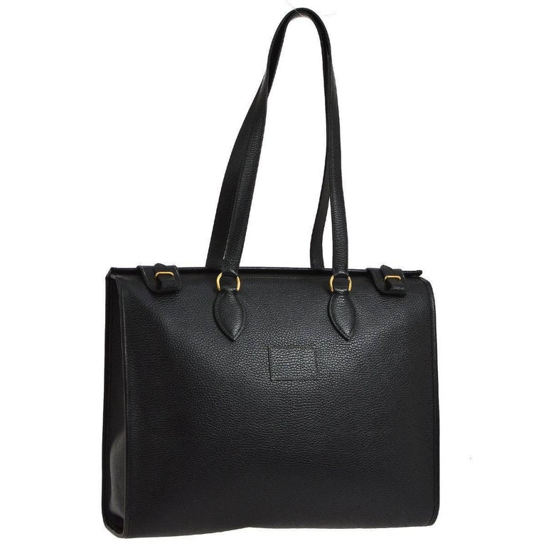 Hermes Black Leather Oversize Carryall Travel Shopper Shoulder Tote Bag In Excellent Condition In Chicago, IL