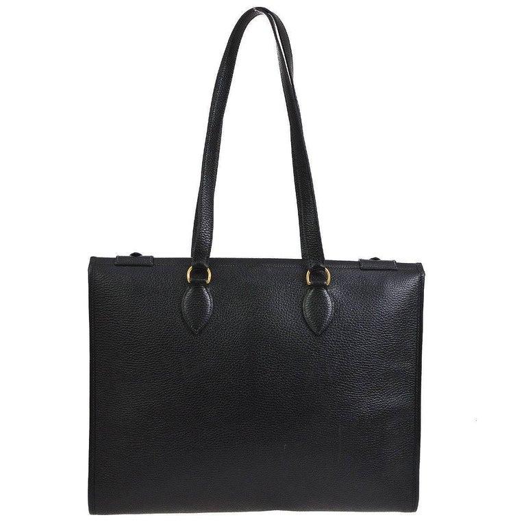 Women's Hermes Black Leather Oversize Carryall Travel Shopper Shoulder Tote Bag