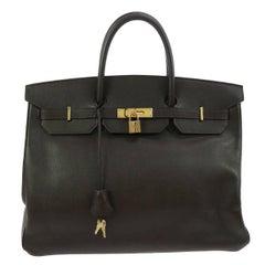 Hermes Birkin 40 Brown Leather Gold Travel Carryall Top Handle Satchel Tote