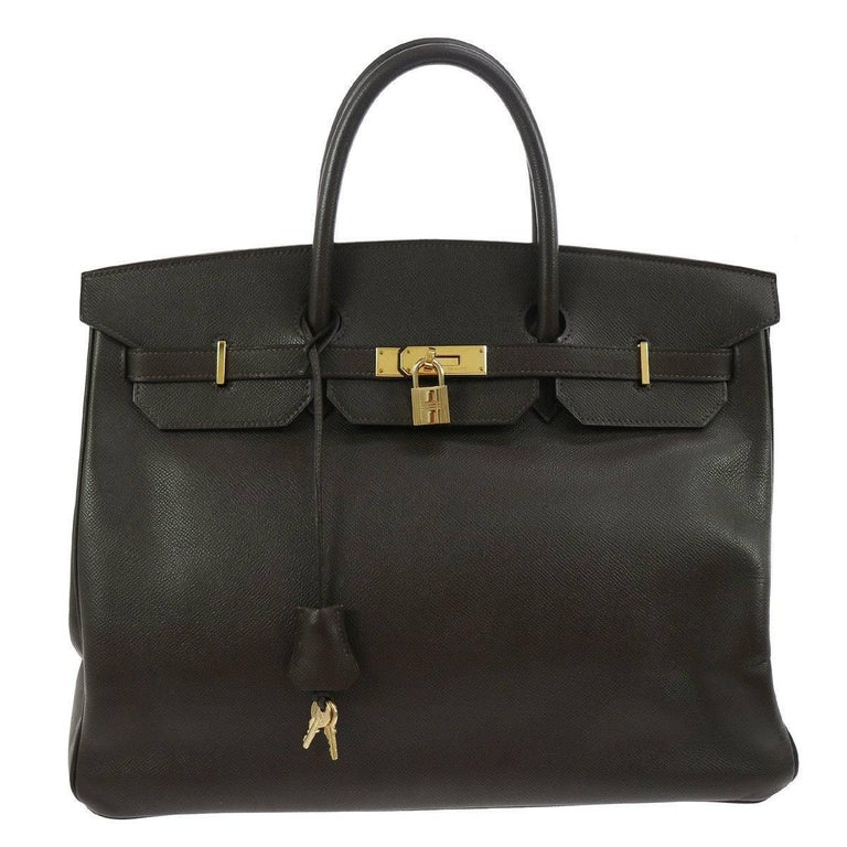 Hermes Birkin 40 Brown Leather Gold Travel Carryall Top Handle Satchel Tote