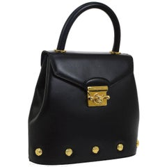 Salvatore Ferragamo Black Leather Gold Stud Kelly Style Top Handle Shoulder Bag